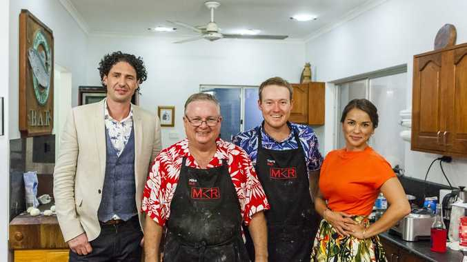 My Kitchen Rules contestants Mike and Tarq pictured with judges Colin Fassnidge and Rachel Khoo.