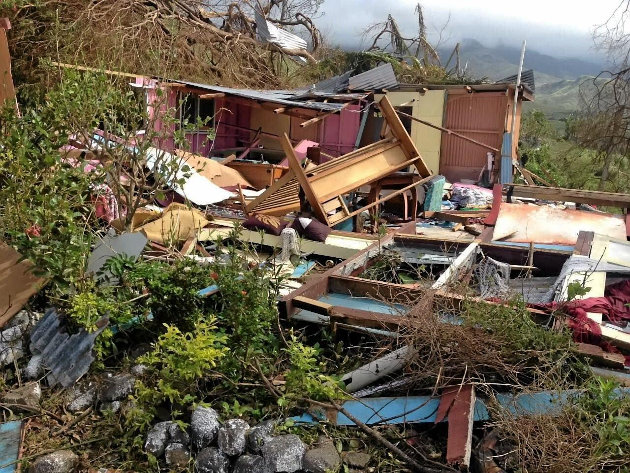 FAMILY HOME: Roshni Smart's home in Fiji after Cyclone Winston.