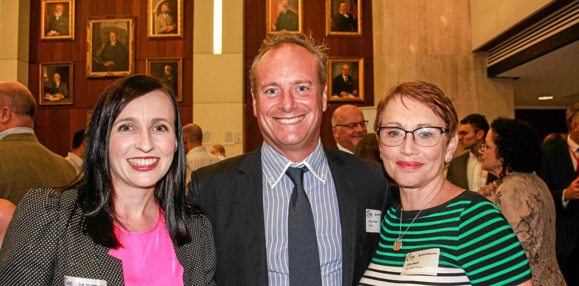 All smiles are (from left) Susan Moore from APLNG, Fraser Power from APLNG and Libby Beath from New Hope Group.