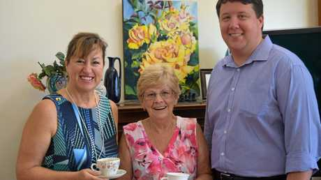 Tweed Palliative Support National Projects Manager Liza Nagy, Banora Point resident Carol Adams and Richmond MP Justine Elliot staffer Reece Byrnes.