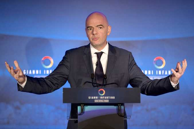 Presidential Candidate Gianni Infantino speaks to the media