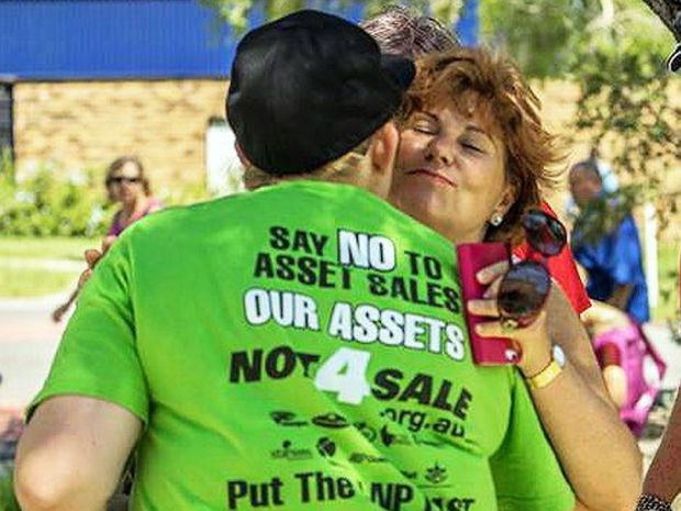 GOOD TIMES: Bundamba MP Jo-Ann Miller on election day last year with the former staffer at the centre of the scandal. The woman was convicted of 263 fraud, stealing and forgery offences.
