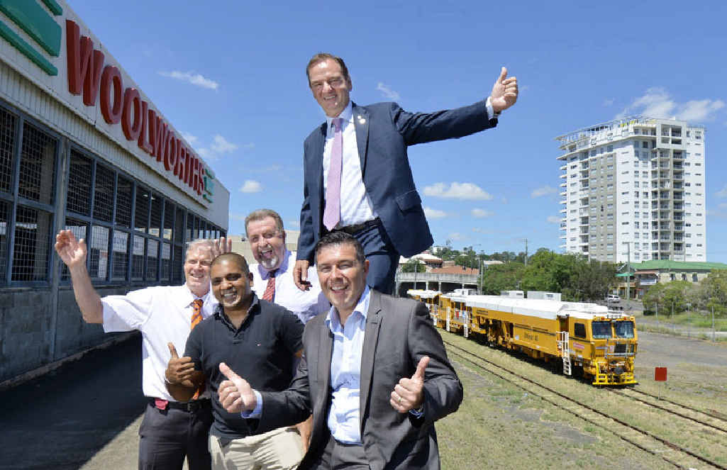 A new lagoon has been announced for the Ipswich CBD. Pictured is owner of Discount Drugs Store Bob Slater, owner of Hello World Suraj Arachchige, Cr Paul Tully, Mayor Paul Pisasale and Cr Andrew Antoniolli.