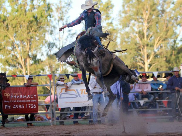 HIGH FLYING: Alpha's Jack McKenzie tries his best to conquer Trebarney in Saturday's CRCA Alpha Rodeo.