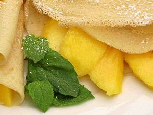 Recipe: Mango coconut crepes with mint
