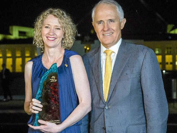 Dr Catherine Keenan with Prime Minister Malcolm Turnbull at Parliament House on Australia Day.