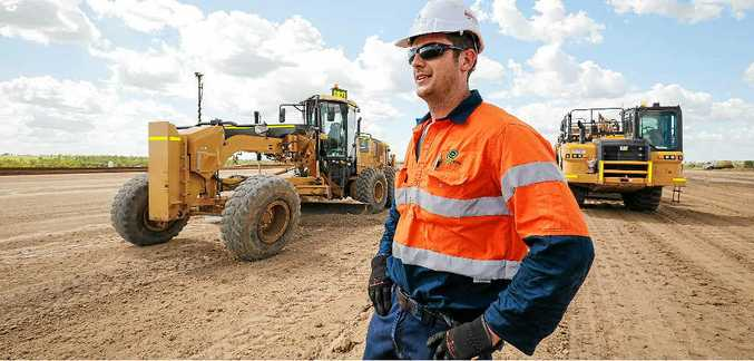 ON THE JOB: Shaun Raus of Ezyquip Hire Toowoomba on the site of QGC's Charlie project.