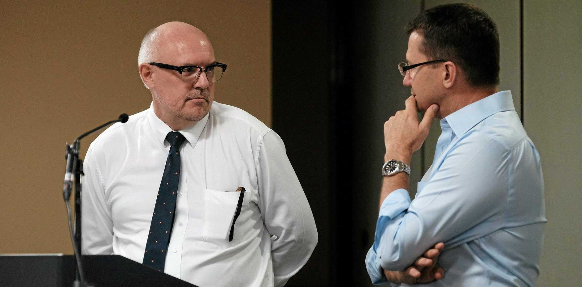 DOWN TO BRASS TACKS: Western Downs Regional Council CEO Ross Musgrove answers questions on Council's procurement policies from CCCI president Rob Hart during Tuesday's Year Ahead Series breakfast in Chinchilla.