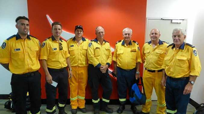 Joel Wilson, Troy Middlebrook, Daniel Lee, Mark Eglington and other Far North Coast Rural Fire Service volunteers have been helping with the firefighting effort in Tasmania this week.
