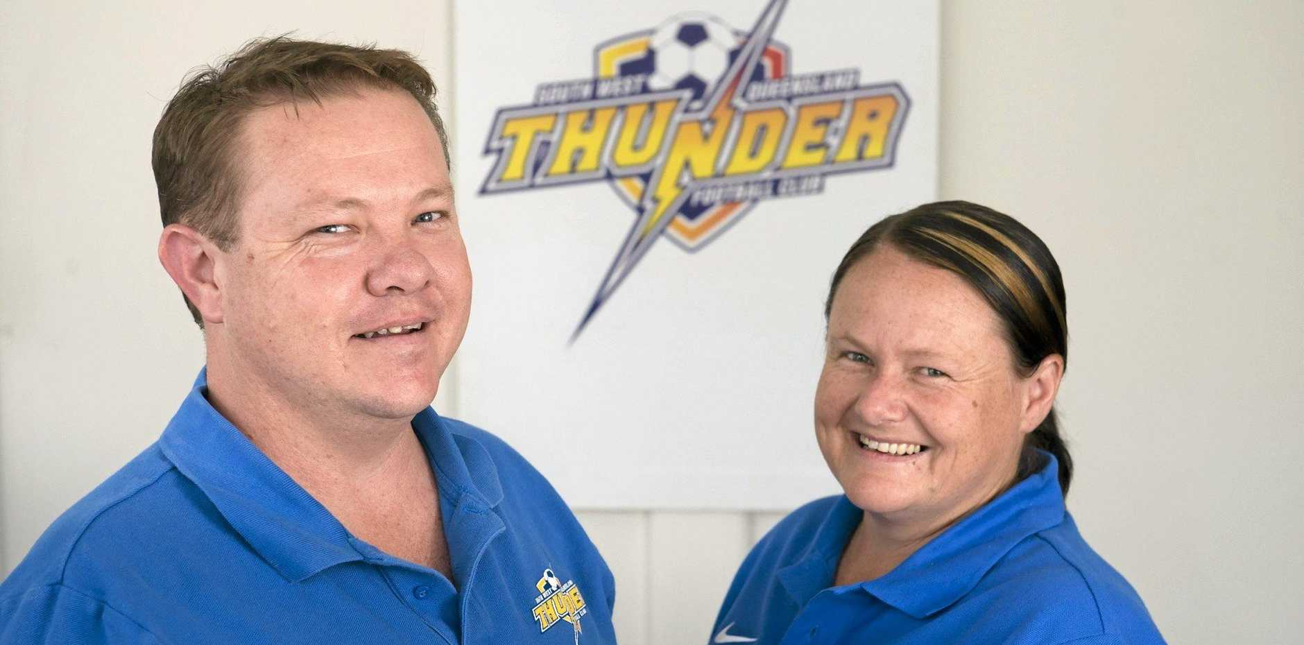 Anthony Bigby and Keren Thomas will coach the South-West Thunder women's squad in NPL Qld next season, Monday, December 14, 2015. Photo Kevin Farmer / The Chronicle