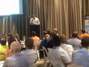 NRG general manager John Abbott speaks to businesses