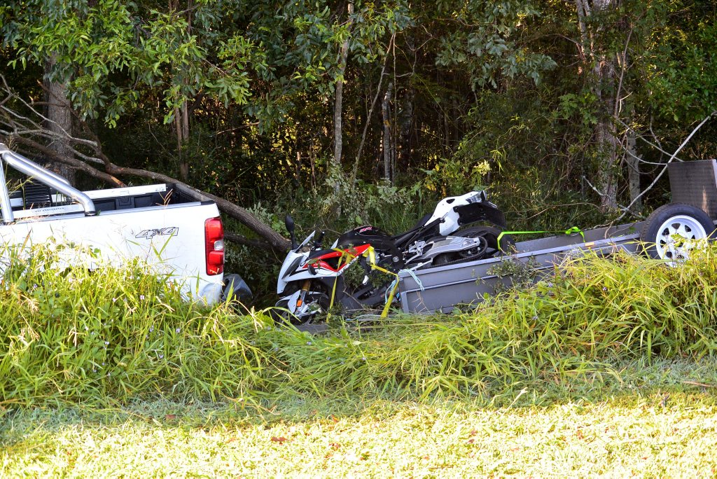 CRASH: The the bike being towed by a Colarado ute that crashed on Telegraph Rd. Photo Craig Warhurst / NewsMail