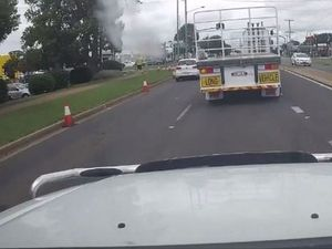 'Sneaky' VW nearly crushed by huge truck in Toowoomba