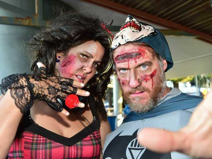 Todd and Sami's Zombie Walk in Mooloolaba to raise money for team Adem. Todd and Sami in Zombie dress. Photo: Che Chapman / Sunshine Coast Daily