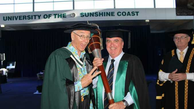 University of the Sunshine Coast vice-chancellor Professor Greg hill contratulates Dr Karl Kruszelnick on his honorary doctorate.