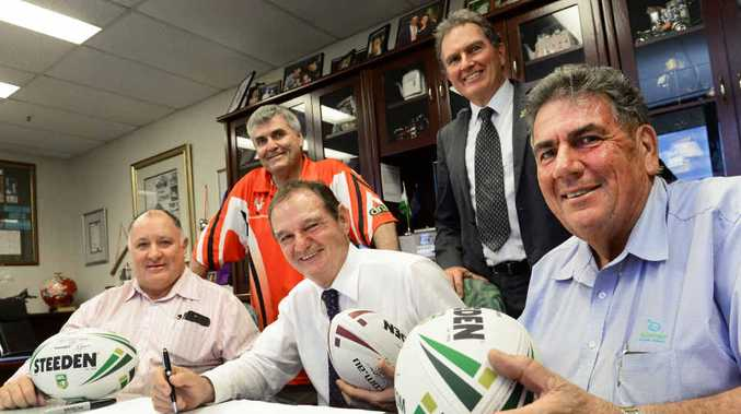 MAKING A DIFFERENCE: The late Lockyer Valley Mayor Steve Jones, Ipswich Mayor Paul Pisasale and Somerset Mayor Graeme Lehmann signed a memorandum of understanding on February 18 to help keep bush footy alive in the region. Cr David Pahlke and Cr David Morrison look on.