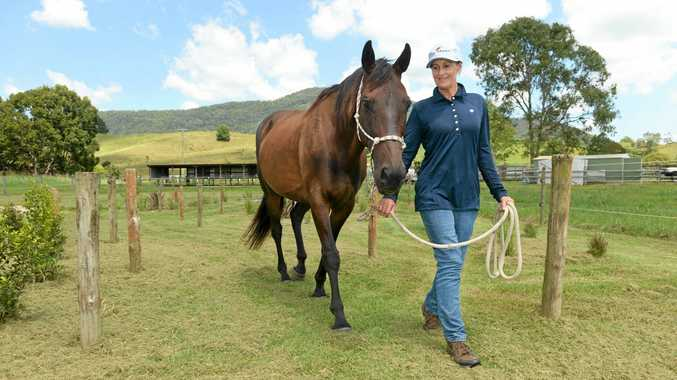 Riding For the Disabled Tweed Valley senior horse manager and vice-president Glenda McIntosh checks out the new obstacle course at Stokers Siding with 17-year-old thoroughbred Apollo.