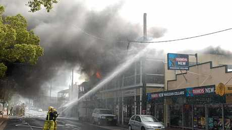 Fire fighters were able to stop the fire spreading to the neighbouring bottle shop and travel agency.
