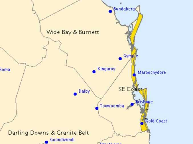 The Bureau of Meteorology is expecting dangerous swell and abnormally high tides in the highlighted areas.