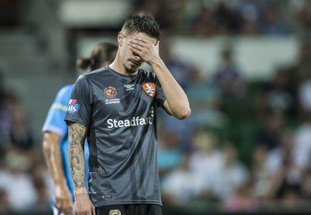 Brisbane Roar's Jamie Maclaren looks dejected during the big loss to Perth Glory last week. Photo: AAP  Image.