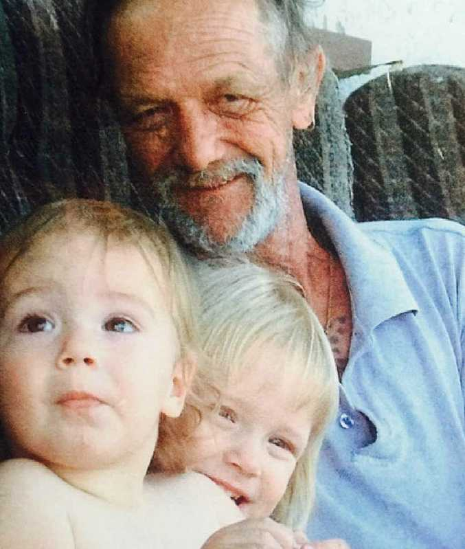 MEMORIES: Lindsay Ede with members of his family before his death and (inset) the small memorial they erected.