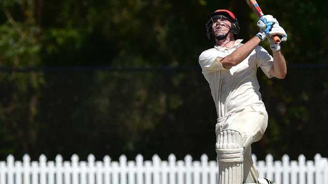 HITTING OUT: John Turnbull smacks one high for the Scorchers at Buderim yesterday. PHOTO: CHE CHAPMAN