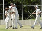 Wests celebrate capturing another wicket. Cricket one day final, Met Easts vs Wests. Sunday 28 Feb , 2016.