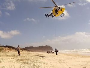 Ipswich man airlifted from Fraser Island after bike crash