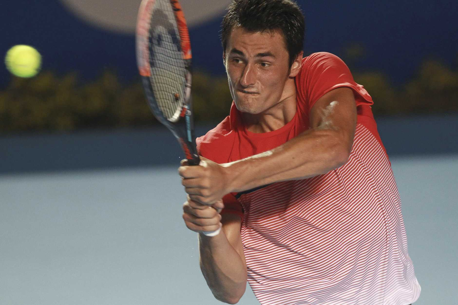 Bernard Tomic in action during the final of the ATP event in Mexico. Photo: AAP Image.