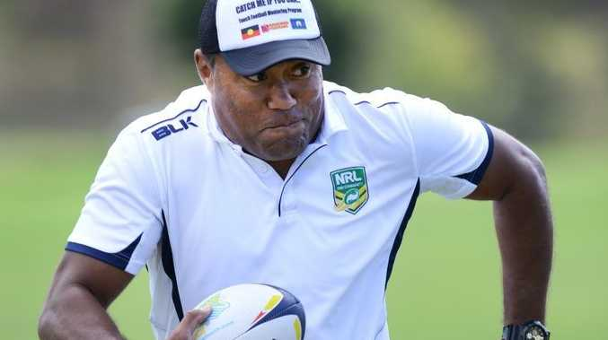 Rugby league legend Petero Civoniceva spent time at the Ipswich touch grounds helping young school kids with drills and skills on Wednesday. Photo: Rob Williams / The Queensland Times