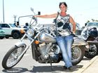 Sheree Wilcox and her Honda Shadow Spirit 750cc.