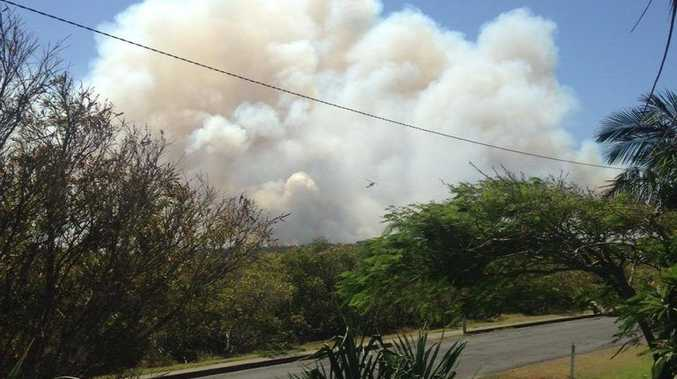 CHOPPER: Wooli resident Nikki Voss snapped this picture of the fire outside her shack.