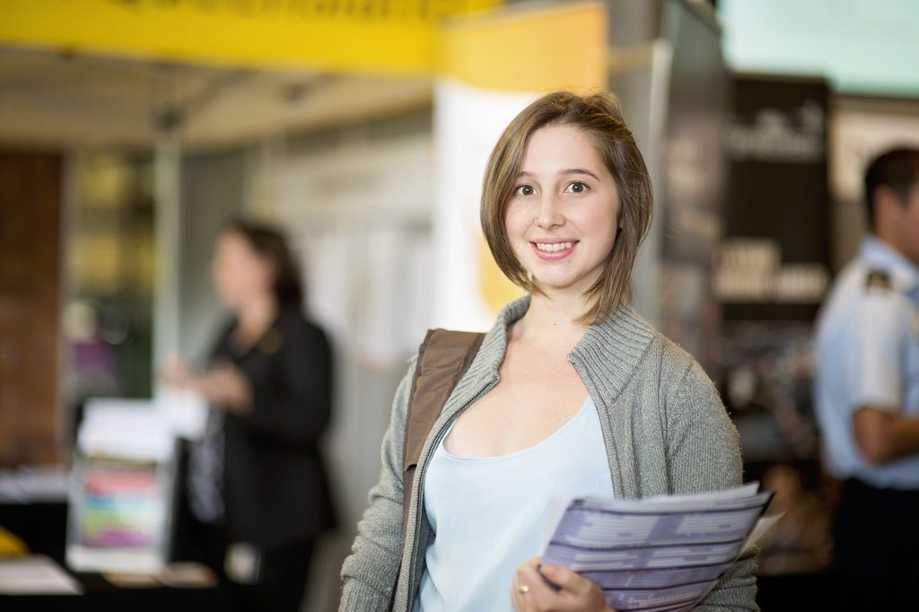 USQ biomedical science student Stacey Gauld at last year's Career Fair.