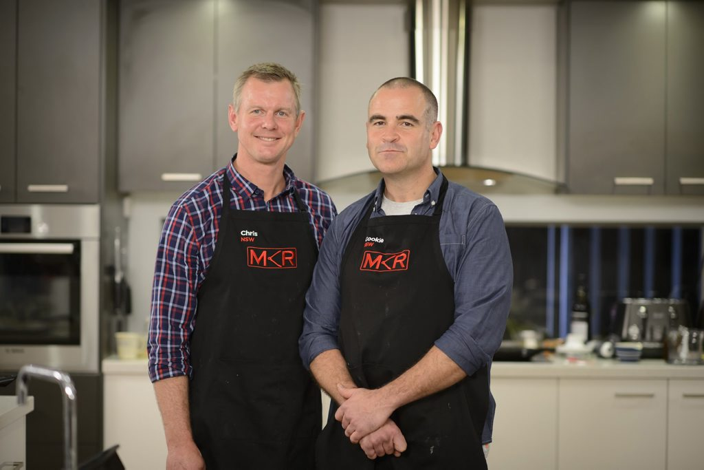 My Kitchen Rules contestants Chris and Cookie pictured during their instant restaurant in Newcastle.