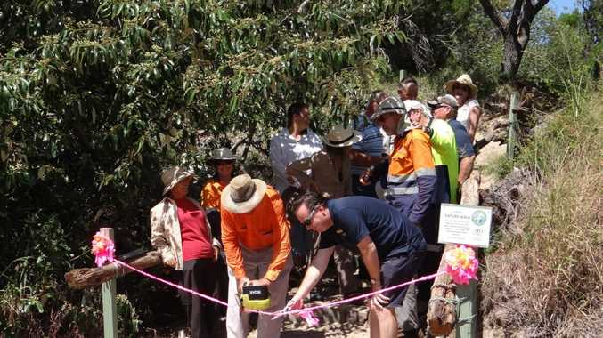 FIDO CEO John Sinclair (centre) and Eurong Resort manager David Farrelly (right) open Eurong's new nature walk to help island visitors get a better understanding of soils. Photo Contributed / Fraser Coast Chronicle