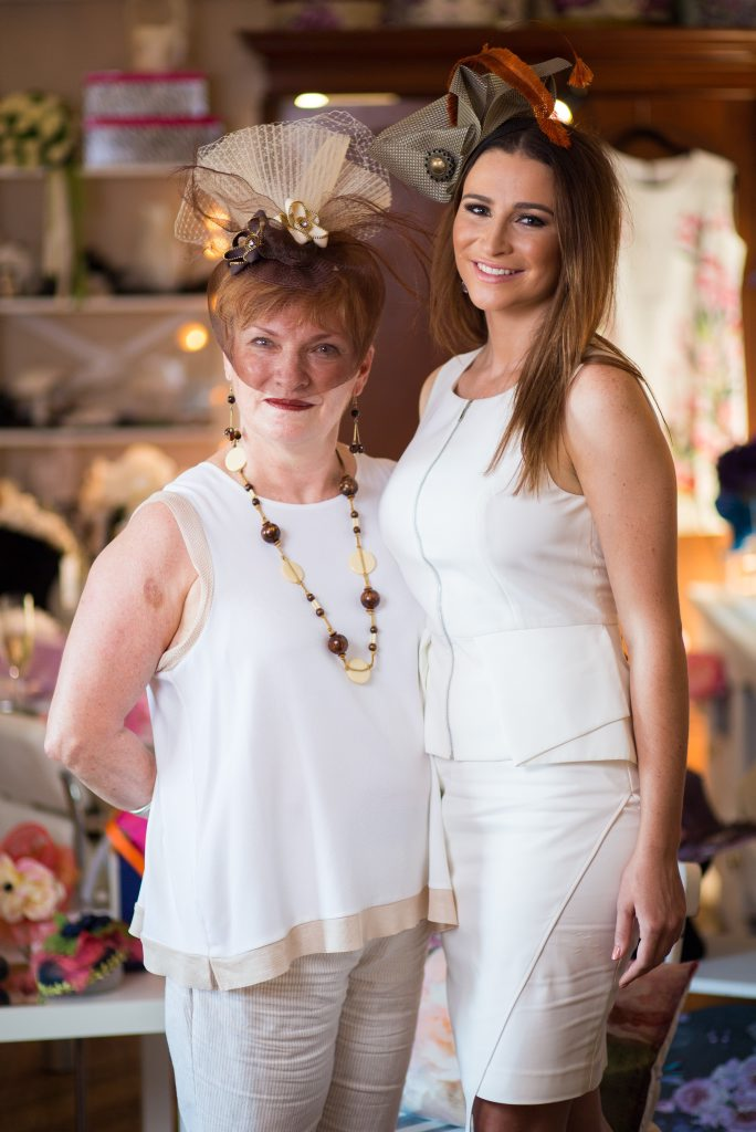 Jenny Lucas wearing one of her creations, along with model Rachel.
