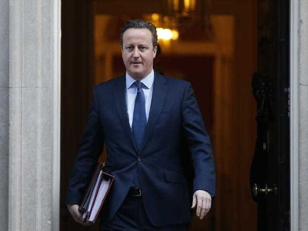 Britain's Prime Minister David Cameron leaves 10 Downing street for the House of Commons for his weekly Prime Minister's Question time, in London, Wednesday, Feb. 24, 2016.