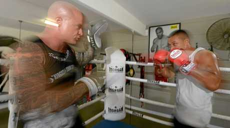 Nick Midgley conducts a sparring session with Blessing Te-O at the Kingcliff Boxing Stables.