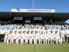 HISTORIC OCCASION: New South Wales and South Australia players ahead of the Sheffield Shield clash played at C.Ex International Stadium at Coffs Harbour.