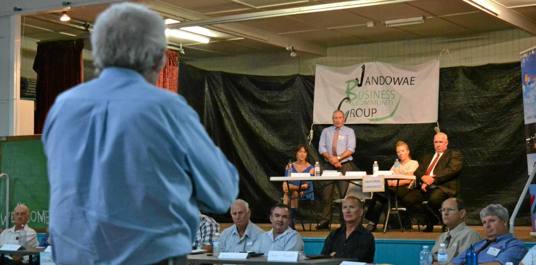 QUESTION TIME: A Jandowae resident grills the WDRC candidates on the budget.