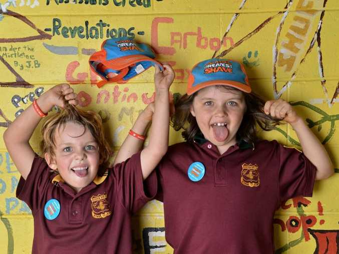 Tanner Cavanagh, 5, and Oliver Naylor, 7, from Buderim Mountain State School will be shaving their heads for