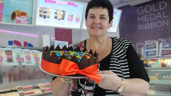 Mackay Baskin Robbins store owner Julie Holland makes roughly 40 to 50 ice cream cakes every week.