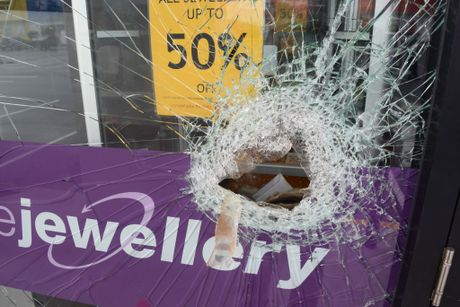A hole was smashed in the front window of Maroochydore Cash Converters to gain entry to a jewellery display case.