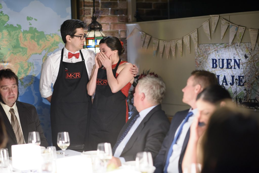 My Kitchen Rules contestants Tim and Dee pictured during their instant restaurant in Sydney.