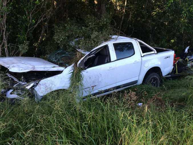 REFUSED BAIL: The driver of this ute that crashed on Telgraph Rd last Friday has been remanded in custody.