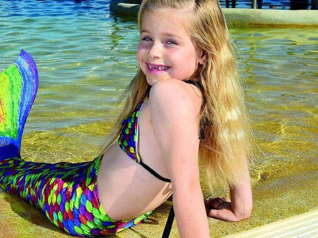 SPLASH: Savannah Ferris loves her mermaid tail, but is always supervised.