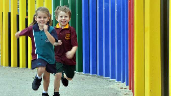 Gearing up for first year in Prep are Buderim Mountain State School student Max O'Keeffe, 5 and Talara Primary College student Olivia Watson, 4.