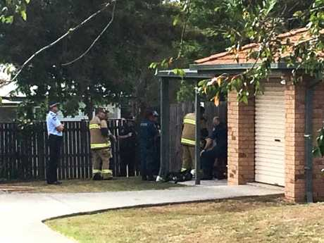 An emergent situation was declared when a man locked himself inside a caravan at a property on Galway Crescent in Brassall on Wednesday morning.Photo: Rob Williams / The Queensland Times