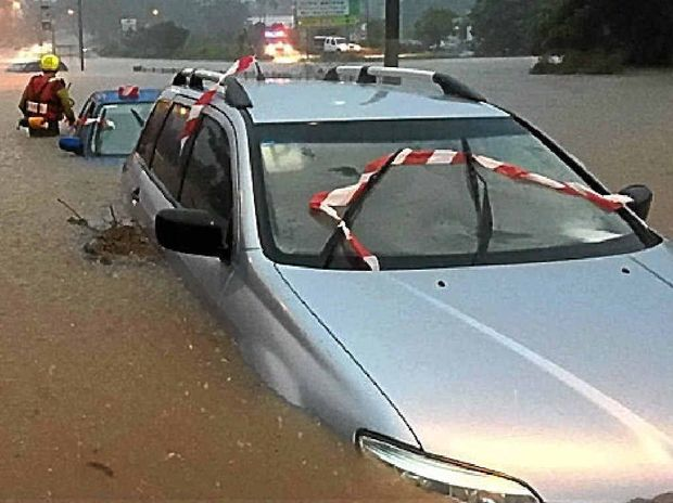 DESTRUCTIVE: Floodwaters in Brisbane on May 1 last year.