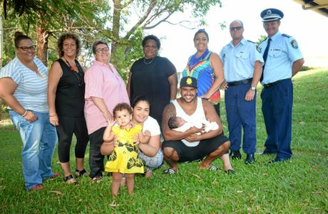 Trainers Natalie Short, Marlene Lauw, Cigrid Herring, Aunty Mareese Terare, Tweed/Byron LAC Aboriginal Liaison Officer Beck Couch, Crime Coordinator Cameron Miller and Superintendent Wayne Starling and (front) Bianca Corowa, Luke Morseu-Tomlinson with children Pearl, 15 months and Shellbee, 4 weeks.